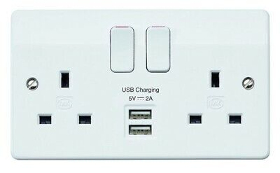 10 x MK K2744WHI Twin Double 2 Gang Switched Plug Socket with 2 x USB Sockets
