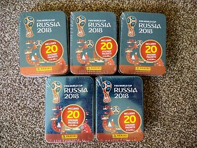 Fifa World Cup 2018 Russia Panini Sticker Box, 500 stickers In Sealed Tins