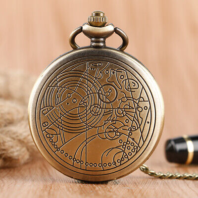 Vintage Doctor Who Pattern Quartz Necklace Pocket Watch with Necklace Chain