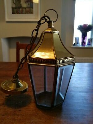 Antique Vintage Brass and Glass Lantern Lamp.