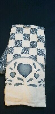 Corelle Blue Hearts 4pc.kitchen towels set ..this is a collectors Item   look