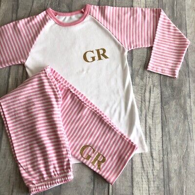 PERSONALISED GIRLS PYJAMAS GIFT, Glitter Initials Pink and White PJs Keepsake