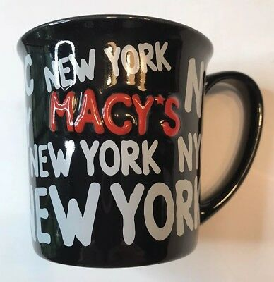New York NYC Macys Coffee Mug Tea Cup 2003 3D Souvenir Black White Red GHA Gift