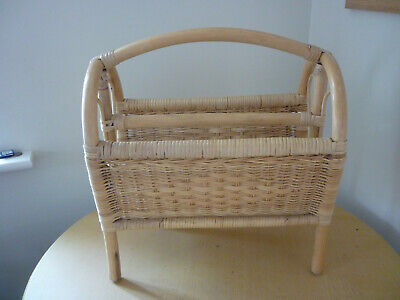 Vintage Bamboo & Rattan Magazine Rack With Heart Ends, Boho Hippy