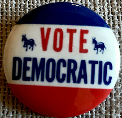 Vintage Original 1960s Vote Democratic  Political Election Pin Button