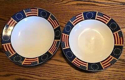 "Coventry Stoneware Liberty American Flag Soup Pasta Bowl 9"" Set Of 2"