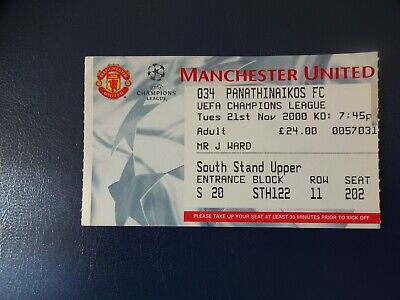Manchester Utd v Panathinaikos 2000/01 Champions League Ticket 1209