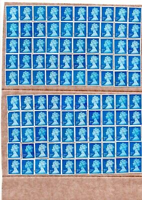 100 Blue Second Class Stamps Unfranked Remounted On Greaseproof Paper See Scan