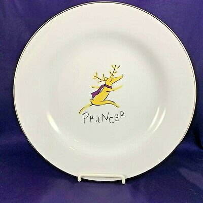 "Pottery Barn REINDEER Dinner Plate 11 1/8"" Prancer"