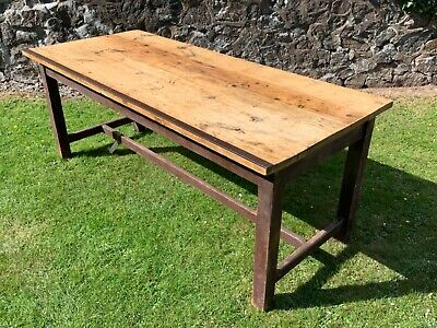 Superb Large Antique Victorian Industrial Pine Refectory Dining / Kitchen Table
