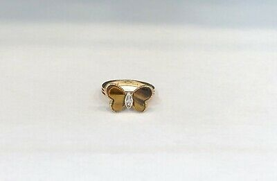 Vintage 14KT Yellow Gold Tigers Eye Butterfly Ring, Ring Size 2.25