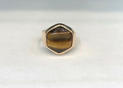 Vintage 14KT Yellow Gold Tigers Eye Ring, Ring Size 9.75