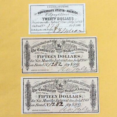 Confederate States Of America Bond Interest Coupons (Lot Of 3) - Crisp And Clean