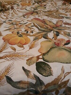 Fall Harvest Vtg Pumpkin sunflower corn Leaves Wheat Large Tablecloth 94x57