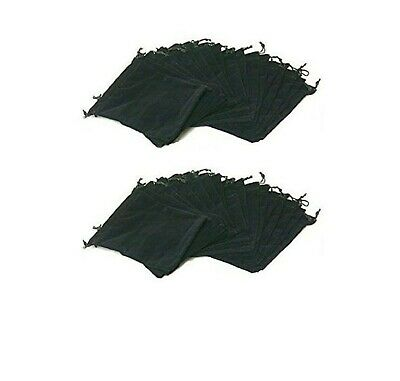 """Drawstring Jewelry Bags Large 7"""" X 5"""" Pouches Black Velvet - Pack Of 25"""