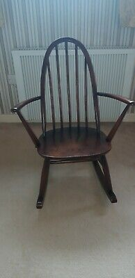Ercol Vintage Windsor Elm/Beech Rocking Chair Mid Century Good Condition