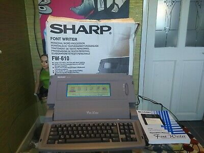 Sharp Font Writer Personal Word Processor Fw 610 With Manual, Disk And Box Vgc