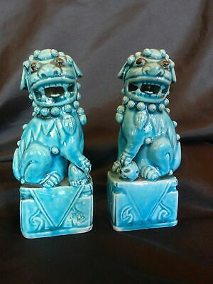 Antique Chinese Pair (2) Turquoise Peacock Glaze Foo Dog Statues Stamped