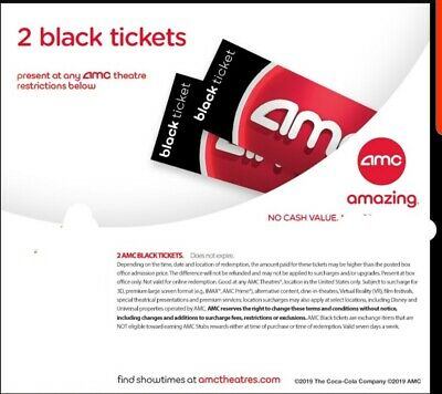 2 AMC Black Movie Tickets No exp 1 hour shipping