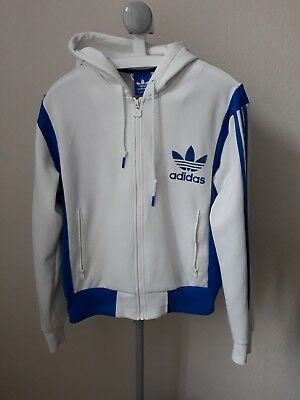 White Adidas Trefoil Hoodie Hooded Track Jacket Top L Large