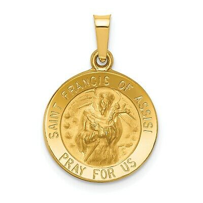 14k Yellow Gold St. Francis of Assisi Medal Pendant/ (0.6INx0.6IN)