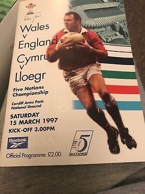 Wales V England Rugby Programme 5 Nations March 15 1997