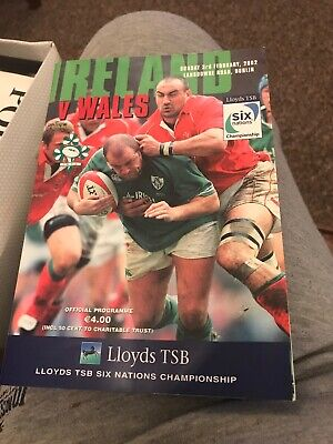 Ireland V Wales Rugby Programme 6 Nations 3rd February 2002