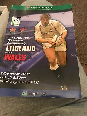 England v Wales Rugby Programme 6 Nations March 23rd 2002