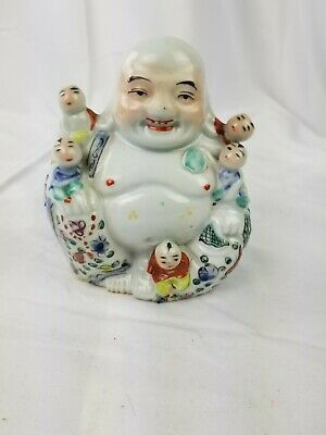Antique Chinese Famille Rose Porcelain Laughing Buddha W 5 Children vintage wow