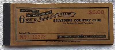 Belvedere Country Club Illegal Casino Gambling Ticket Book 1950's Hot Springs AR