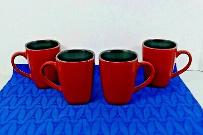 "Lot 4 Corning CORELLE Hearthstone CHILI RED Stoneware Mugs 4 1/2"" Square MINT!"