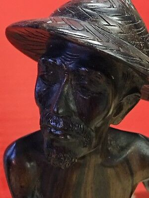 WOODEN CARVED FISHERMAN FROM 1950's INDIAN ASIAN  COROMANDEL or ROSEWOOD?