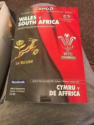 Wales V South Africa Rugby Programme November 26th 2000