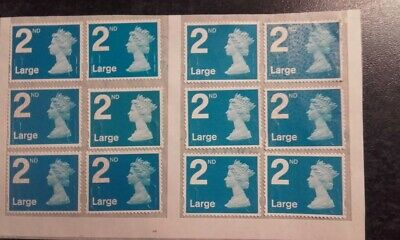 12 Royal Mail 2nd Class Large Unfranked 2018 Blue Security Stamps Easy Peel