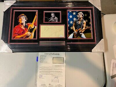 Bruce Springsteen Autograph Signed Cut Auto Collage Framed JSA LOA Full Letter