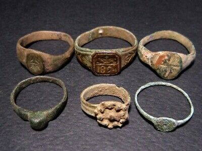 LOT of 6pcs. ANCIENT ROMAN , BYZANTINE AND MEDIEVAL FINGER RINGS+++