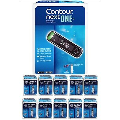 Contour Next One Bayer Bluetooth Blood Glucose Meter + Carrying Case +100 strips