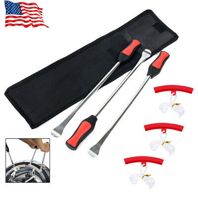 Motorcycle Bike Tire Changing Spoon Lever Iron Set W/ 3pc Rim Protectors New