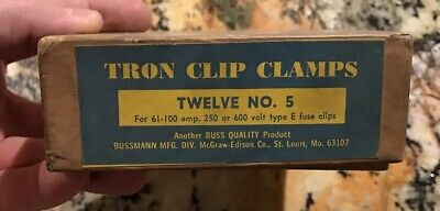 Vintage Tron Clip Clamps #5 #2 #1 With Original Box Electrical Buss Quality Fuse