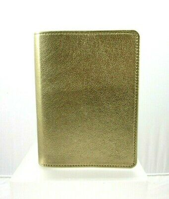 """Graphic Image Wire-O 5x7"""" Notebook Refillable Leather Cover New Gold Metallic"""