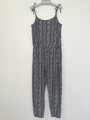TILII  NWOT Girls Size 14 Stretch Black/White 100% Cotton Jumpsuit With Tie
