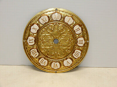 Vintage Clock Dial Solid Brass With Porcelain Inserts