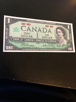 1967 Canada $1 One Dollar Bill Note Uncirculated Double Dated 1867 1967
