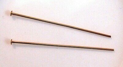 Headpin, gold-plated brass, 1-1/2 inches, 21 gauge x 50