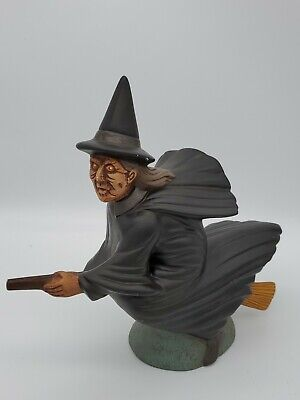 Vintage Ceramic Halloween Witch Scary Fun Wicked Witch on Broom