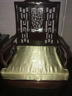 Asian Carved Mother-of-Pearl Inlay Rosewood End Chairs (set of 4)