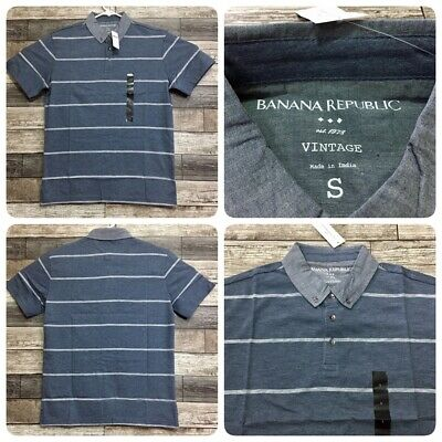 Banana Republic Vintage Fit Stripe Polo Shirt Men S Blue 60/40 Cotton Polyester