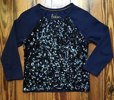 BODEN Girls Long Sleeve Navy Blue Cotton Sequin Top. Size 3-4Y.