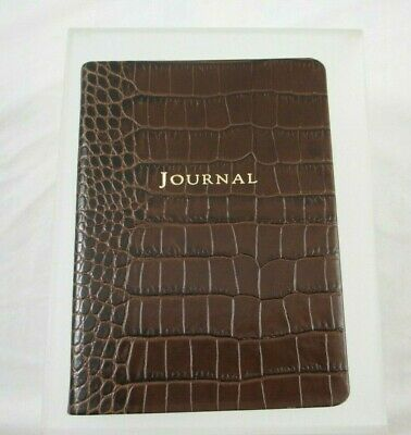 """Graphic Image Travel Writing Journal Leather Softcover 5x7"""" Lined Pages Croc Brn"""