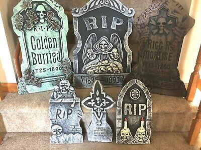 New! Set Of 6 Halloween Tombstones For Graveyard Cemetery Yard Display + Stakes